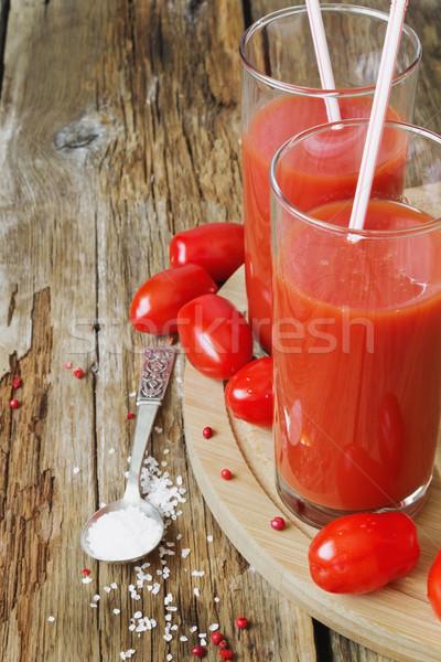 Paradicsomlé friss magas üveg paradicsomok öreg Stock fotó © saharosa