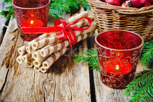 Рождества свечей красивой Cookies очки старые Сток-фото © saharosa