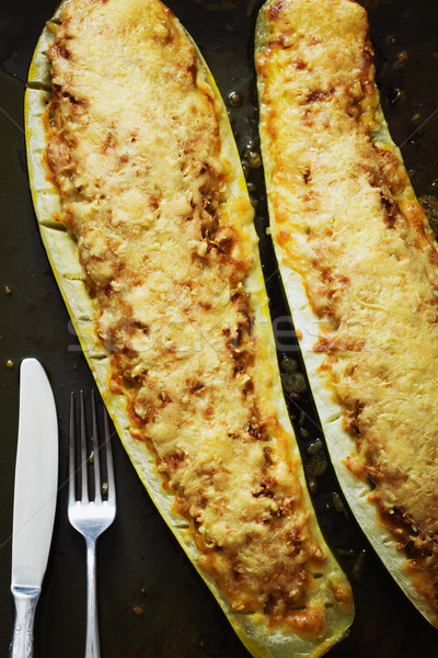 Kabak parma'ya ait diyet gıda üst Stok fotoğraf © saharosa