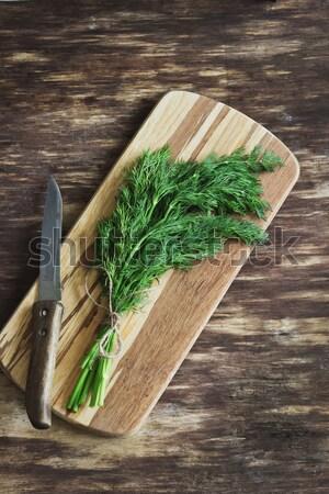 Frescos tabla de cortar edad verduras frescas Foto stock © saharosa