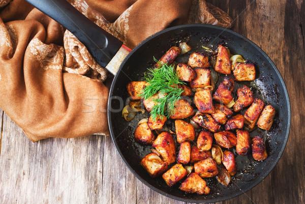 Sült szeletek hús hagyma fűszer serpenyő Stock fotó © saharosa