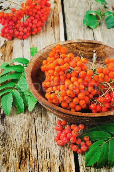Rosso legno ciotola vecchio autunno alimentare Foto d'archivio © saharosa