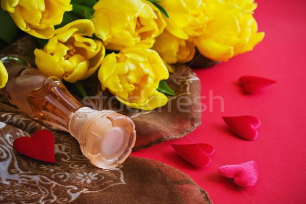 бутылку духи цветок тюльпаны красный Сток-фото © saharosa