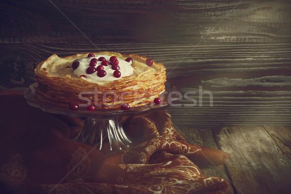 Vakantie pannenkoeken vers gebakken zure room bessen Stockfoto © saharosa