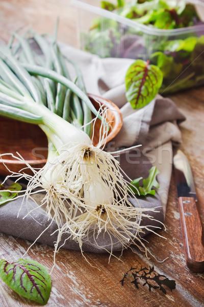 Taze ıspanak sağlık diyet gıda yaprakları Stok fotoğraf © saharosa