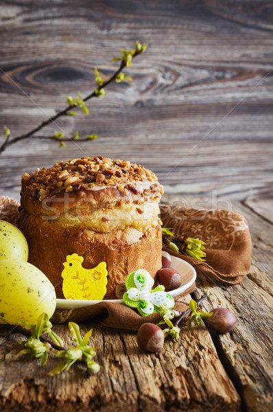Pasen cake vakantie decoraties houten vakantie Stockfoto © saharosa