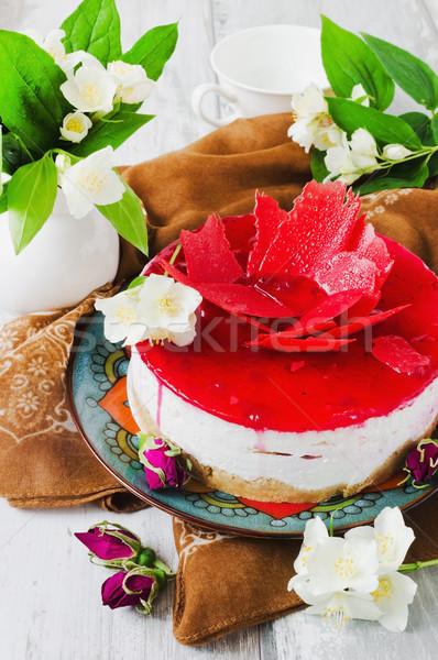 celebratory cake and jasmine flowers  Stock photo © saharosa