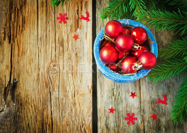 красный Рождества мало синий чаши Сток-фото © saharosa