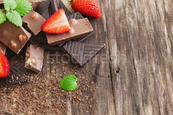 chocolate and strawberry Stock photo © saharosa