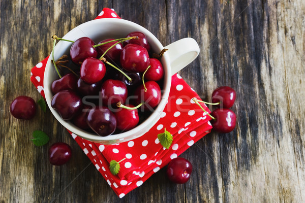 ripe cherries in a cup Stock photo © saharosa