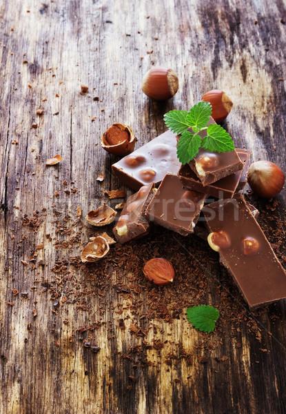 Foto stock: Chocolate · de · folhas · velho