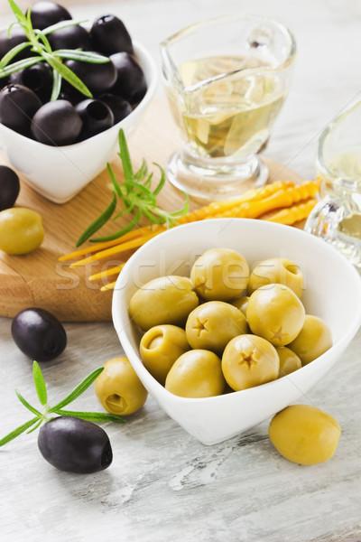 Yararlı ürünleri zeytin biberiye zeytinyağı Stok fotoğraf © saharosa