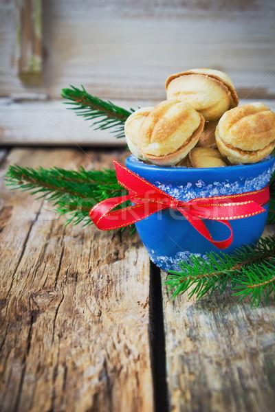 Christmas cookies Blauw kom lint oude Stockfoto © saharosa