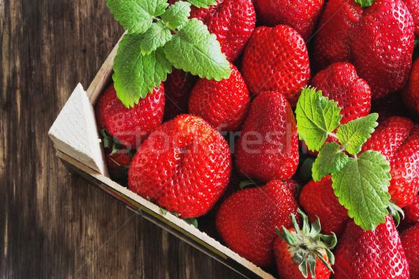 Maduro fresas cuadro dieta alimentos Foto stock © saharosa
