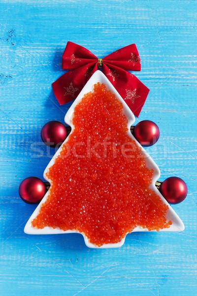 красный икра рождественская елка декоративный пластина Рождества Сток-фото © saharosa
