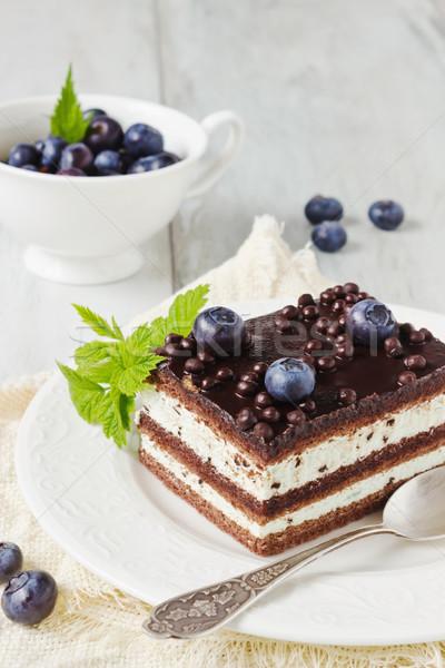 Cake plaat stuk verjaardagstaart beker bosbessen Stockfoto © saharosa