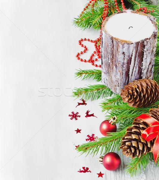 Рождества свечу большой украшения свет Сток-фото © saharosa