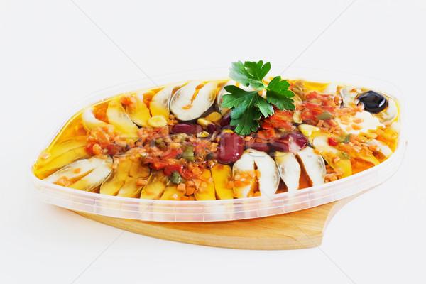 Farklı sebze beyaz pişmiş deniz ürünleri balık Stok fotoğraf © saharosa