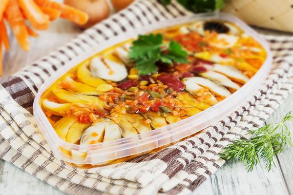 Verschillend groenten tabel gekookt zeevruchten selectieve aandacht Stockfoto © saharosa