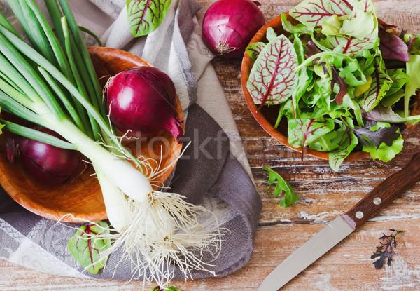 Nuttig groenten spinazie gezondheid dieet voedsel Stockfoto © saharosa