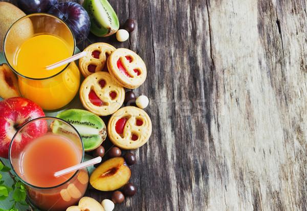 Meyve suyu bisküvi meyve reçel farklı taze meyve Stok fotoğraf © saharosa