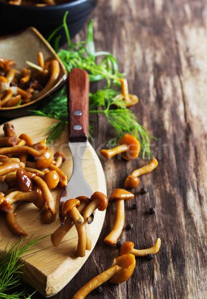 Házi készítésű marinált gombák finom fa asztal rusztikus Stock fotó © saharosa