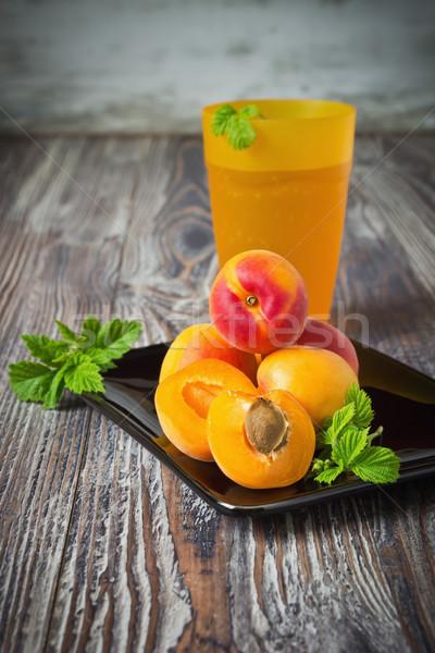 Vers rijp zwarte plaat abrikoos voedsel Stockfoto © saharosa