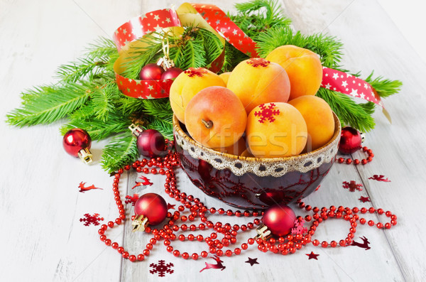 apricots and christmas decorations Stock photo © saharosa