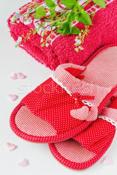 Női házi cipők szívek piros törölköző nyár Stock fotó © saharosa