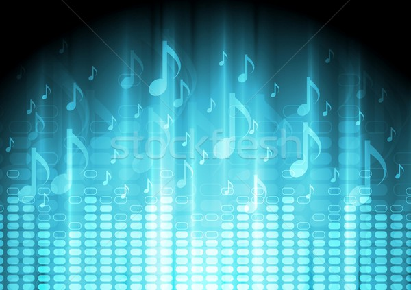 Blue music background with equalizer and notes Stock photo © saicle