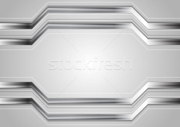 Minimalny streszczenie technologii metaliczny wektora tech Zdjęcia stock © saicle