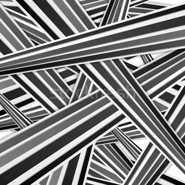 Abstract tech black and white striped pattern Stock photo © saicle