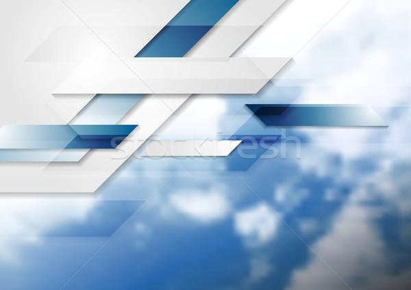 Blue shiny hi-tech background and cloudy sky Stock photo © saicle