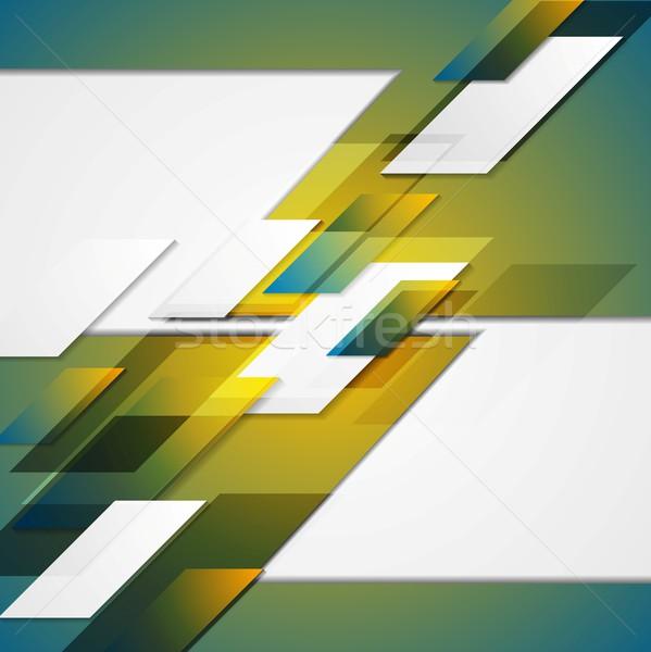 Blauw Geel meetkundig vector ontwerp licht Stockfoto © saicle
