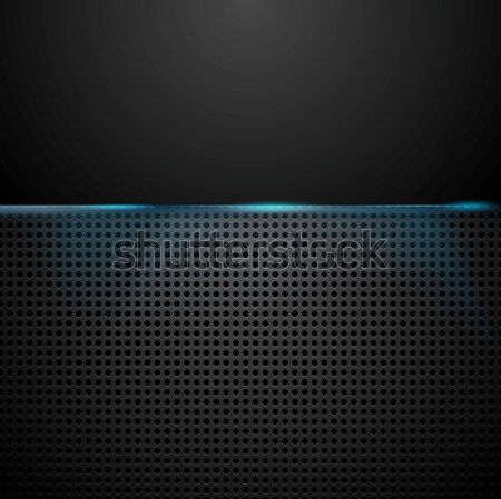 Dark perforated background with blue glow light Stock photo © saicle