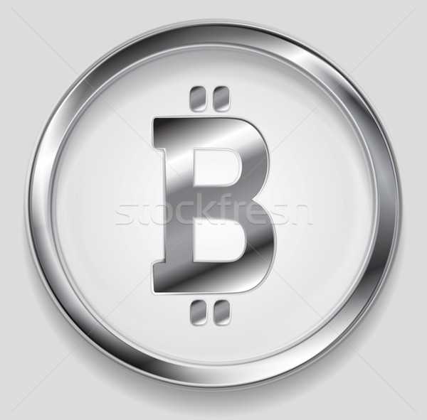 Crypto currency, metal icon bitcoin design Stock photo © saicle