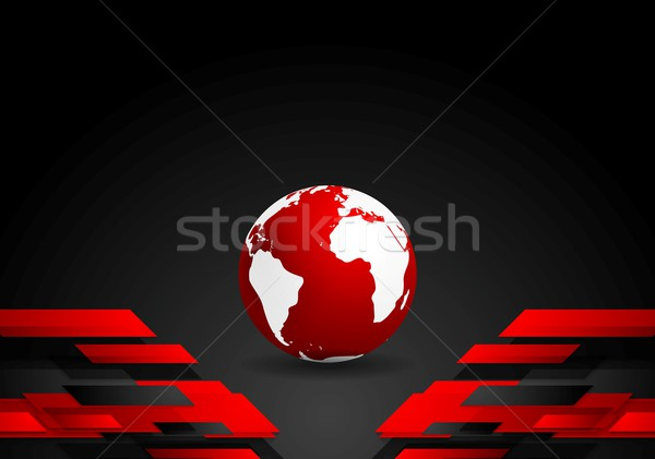 Red black tech contrast background with earth globe Stock photo © saicle