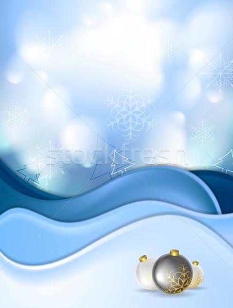 Blue snowdrift and Christmas balls Stock photo © saicle
