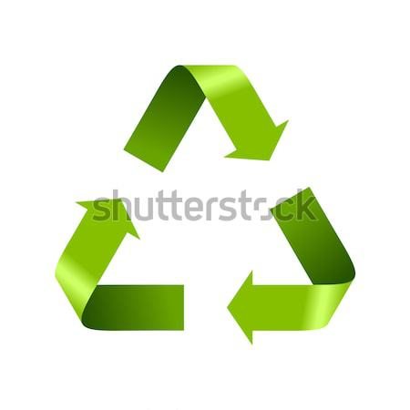 Green recycle logo sign isolated on white Stock photo © saicle