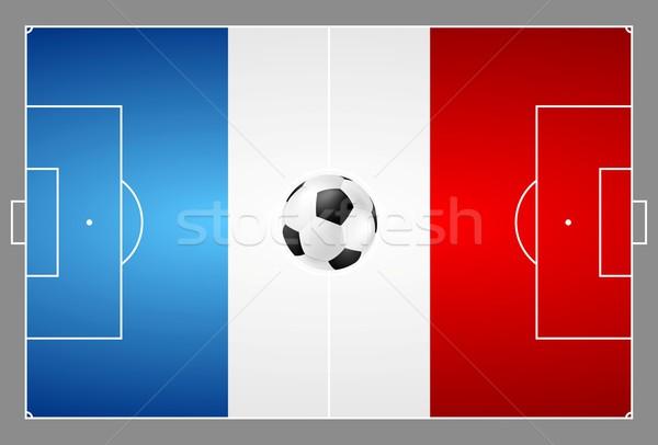 Brillante balón de fútbol francés colores campo de fútbol vector Foto stock © saicle