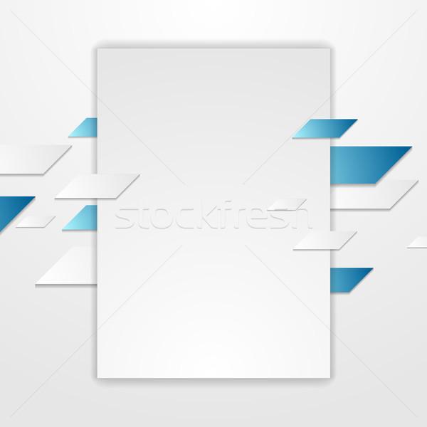 синий серый Tech корпоративного Flyer дизайна Сток-фото © saicle