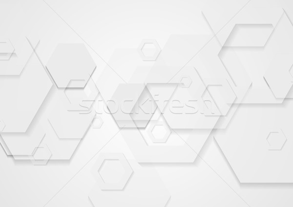 Abstract white minimal tech hexagons background Stock photo © saicle