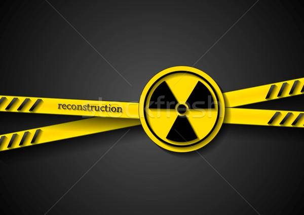 Niebezpieczeństwo taśmy streszczenie promieniowanie symbol wektora Zdjęcia stock © saicle
