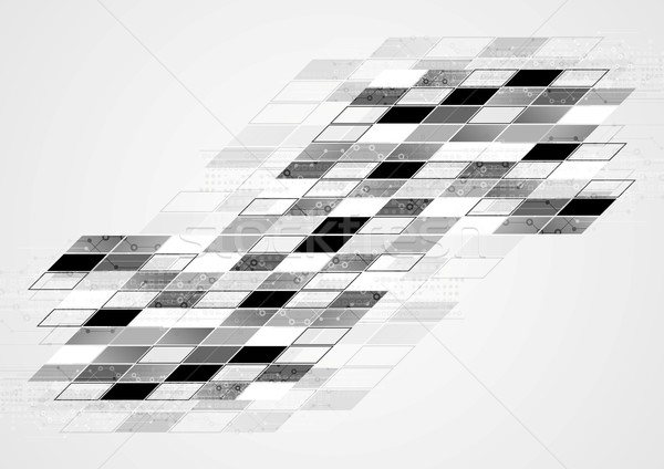 Abstract zwart wit tech meetkundig corporate vector Stockfoto © saicle