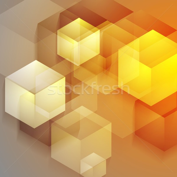 Bright tech geometric background with cubes Stock photo © saicle