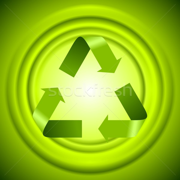 Green recycle logo sign with smooth circles Stock photo © saicle
