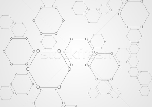 Molecular grey structure abstract tech background Stock photo © saicle
