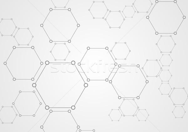Molekularny szary struktury streszczenie tech świetle Zdjęcia stock © saicle
