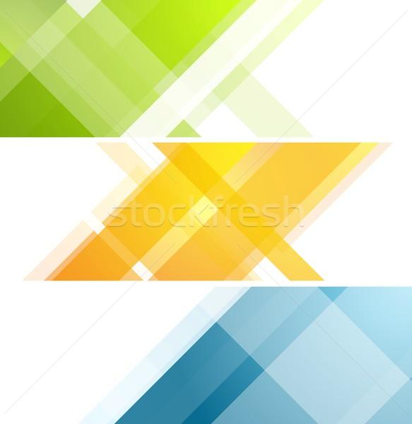 Minimalny tech geometryczny banery wektora sztuki Zdjęcia stock © saicle
