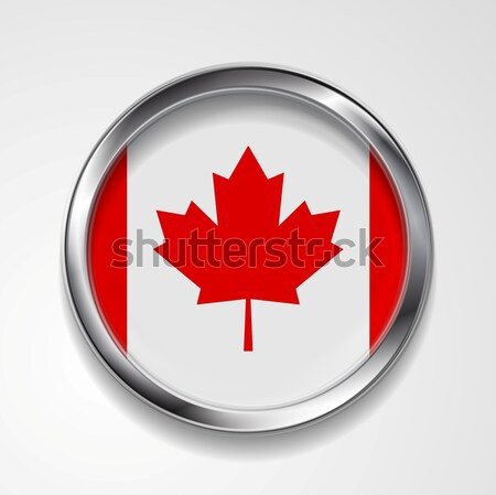 Abstract button with metallic frame. Canadian flag Stock photo © saicle
